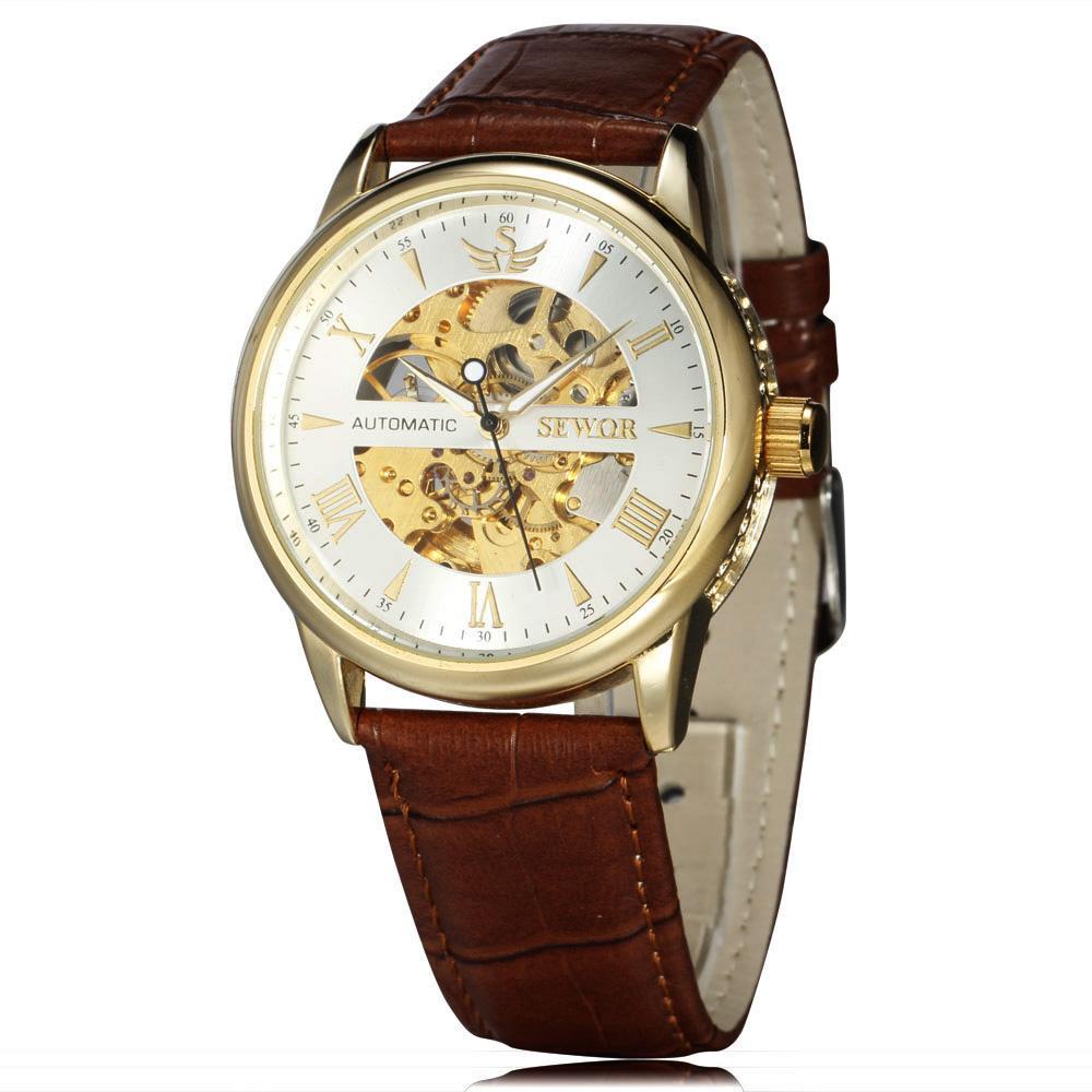 SEWOR Marca para hombre Relojes de pulsera mecánicos Esqueleto Hueco Reloj de moda Hombre Negocios Cuero Moderno Reloj de pulsera automático SWQ22-694