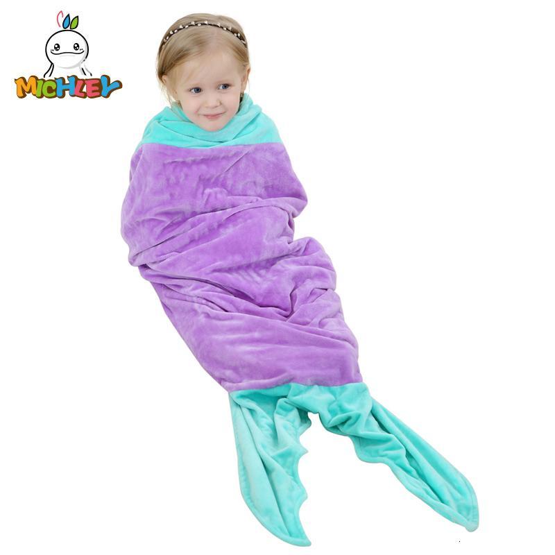 Çanta 100 Kalite Battaniye Sleeper JY0249 CJ191205 Sleeping MICHLEY sevimli hayvan Kız Kış pijamalar Fanila Fleece Çocuk Güzel Balık