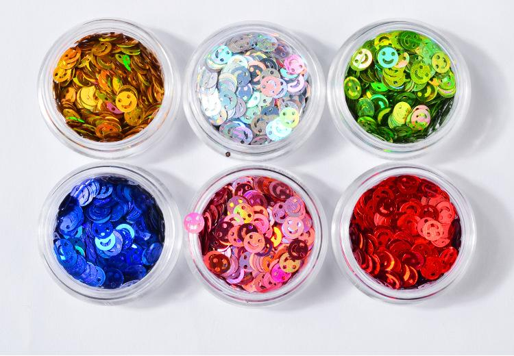 6 Pots Smiling Face Acrylic Round Glitter Nail Art Sequins DIY Decoration Tips