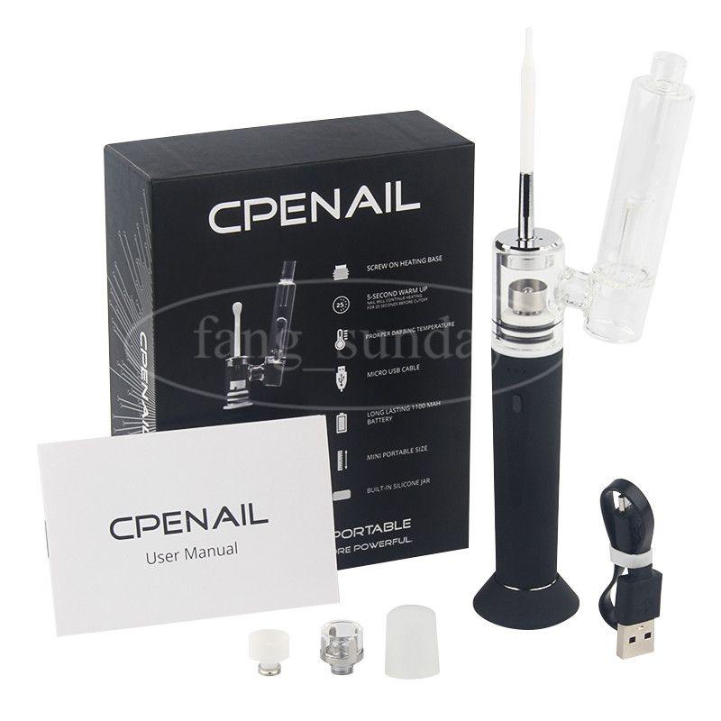 Auténtico CPENAIL Vape Pen Starter Kit 1100mAh Dab Rig GR2 Pure Titanium Portable Vaporizador de cerámica Cuarzo eléctrico H E Clavo Bongs de vidrio