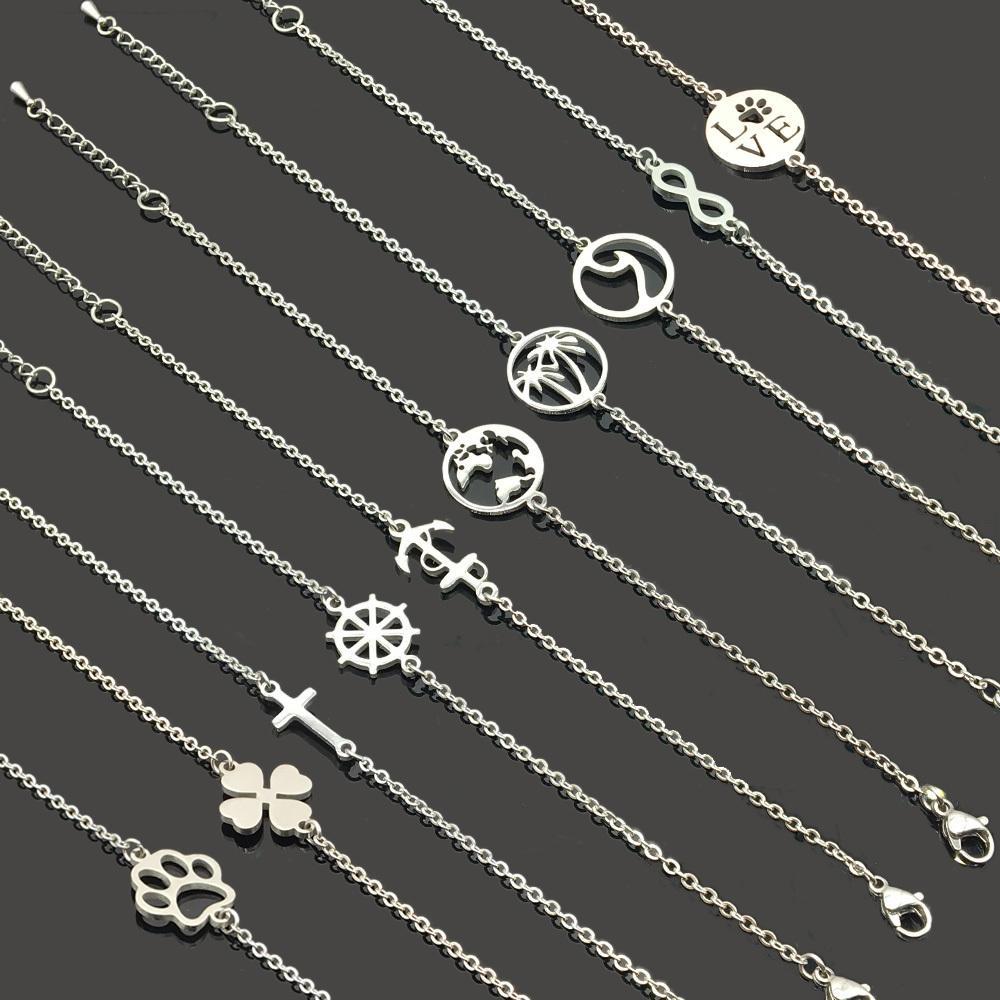 Qualitäts-Engels-Infinity-Liebes-Edelstahl-Charme-Armband-Edelstahl-Haustier-Paw Anhänger Kette Armband für Frauen Mädchen