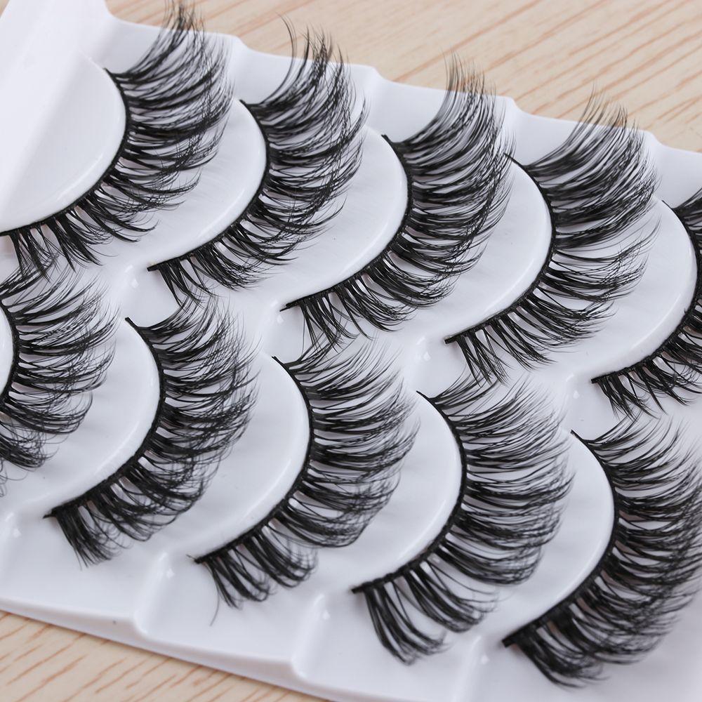 5 Pairs Handmade 3D Messy Long False Eyelashes Wispy Flutter Lashes Natural Long Volume Fake Eye Lashes Extension Tools