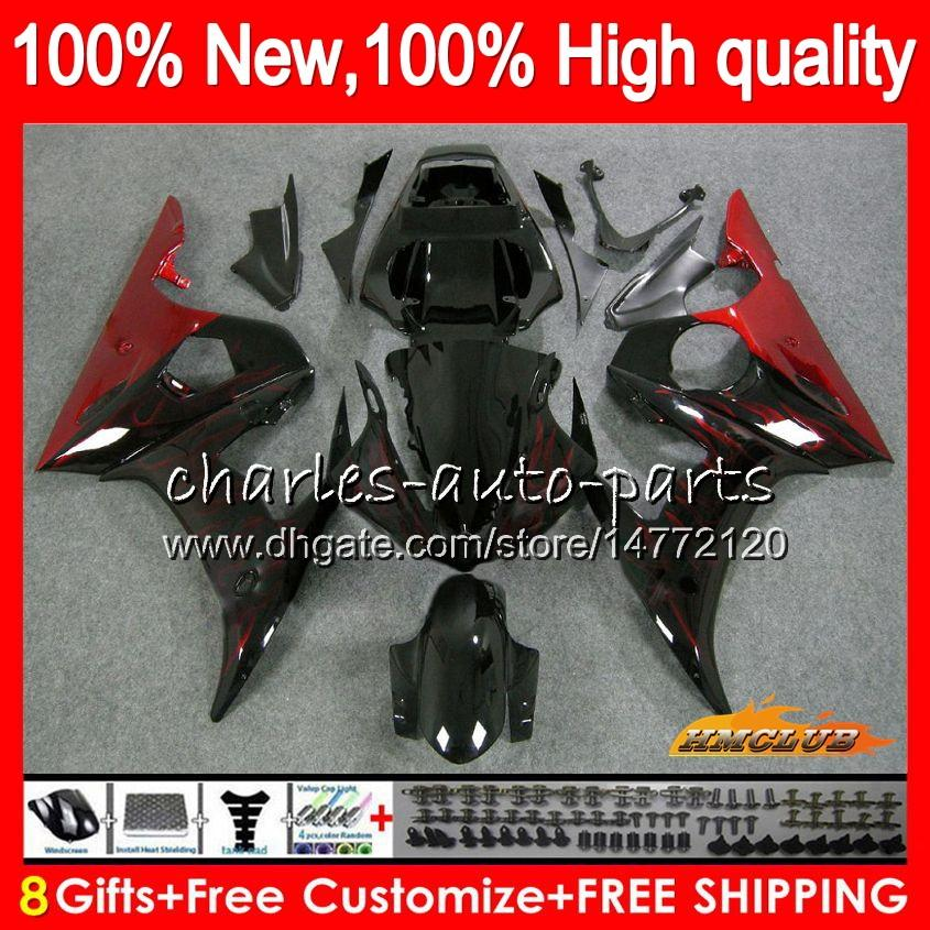 Body Kit voor Yamaha YZF600 YZF 600 R 6 600CC Rode Vlammen YZF R6 03-05 59HC.30 YZF-R6 YZF-600 YZFR6 03 04 05 2003 2004 2005 Kuiken + 8Gifts