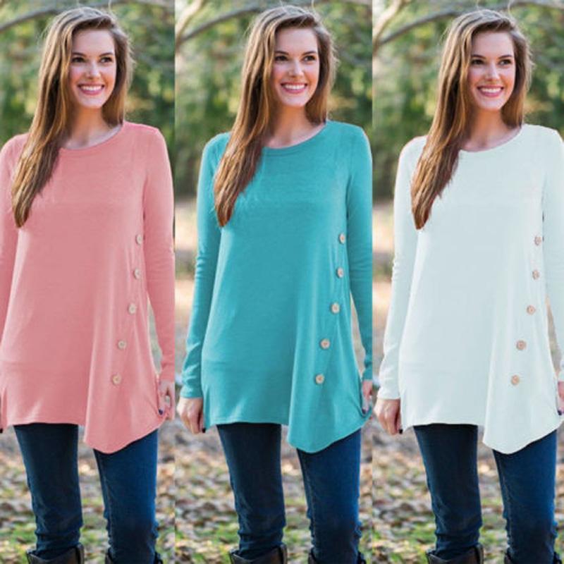 ABD STOK Moda Yaz Kadınlar Gevşek En Uzun Kollu Bluz Bayanlar Casual Düğme Bluz Tops
