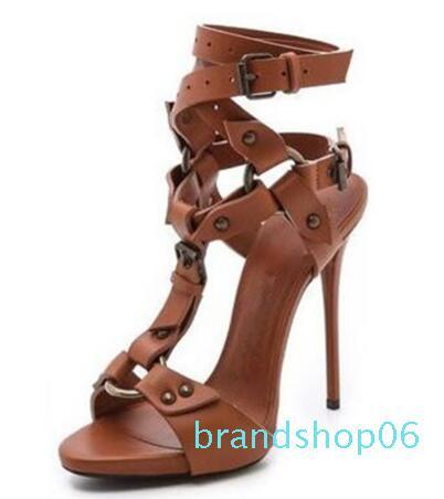 Hot Sale-T-Bügel-Absatz-Schuhe Frau Sexy Gladiator Sandalen Pumps Schwarz Braun Stiletto Echtes Leder Prom Sandalen 42
