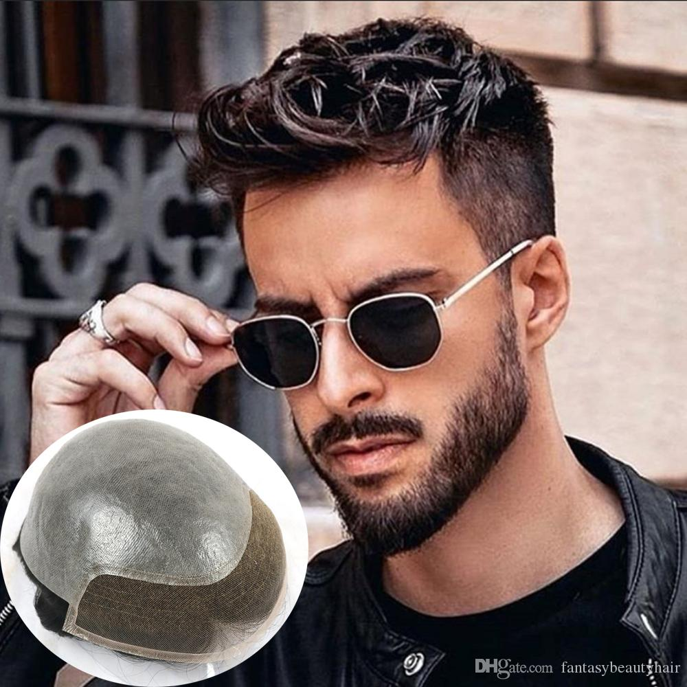 Toupee men 8*10 base front swiss lace and PU bleach knots BIO lace base Indian hair straight hair skin knot stock men toupee