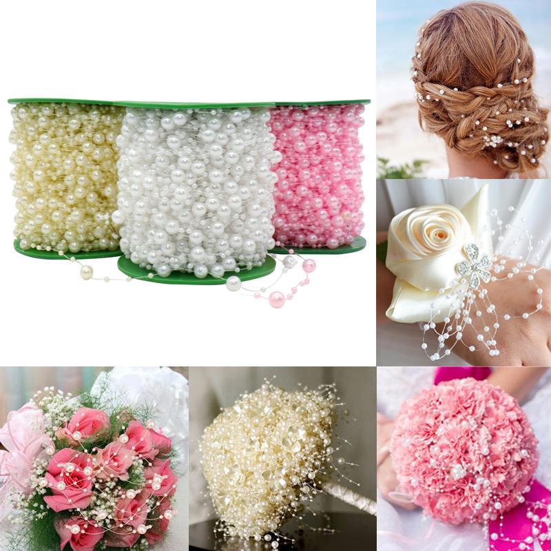 Decorazioni artificiali Fiori secchi 5 metri Bianco linea di pesca perle artificiali Perline per fai da te ghirlanda fiori decorazione di cerimonia ...