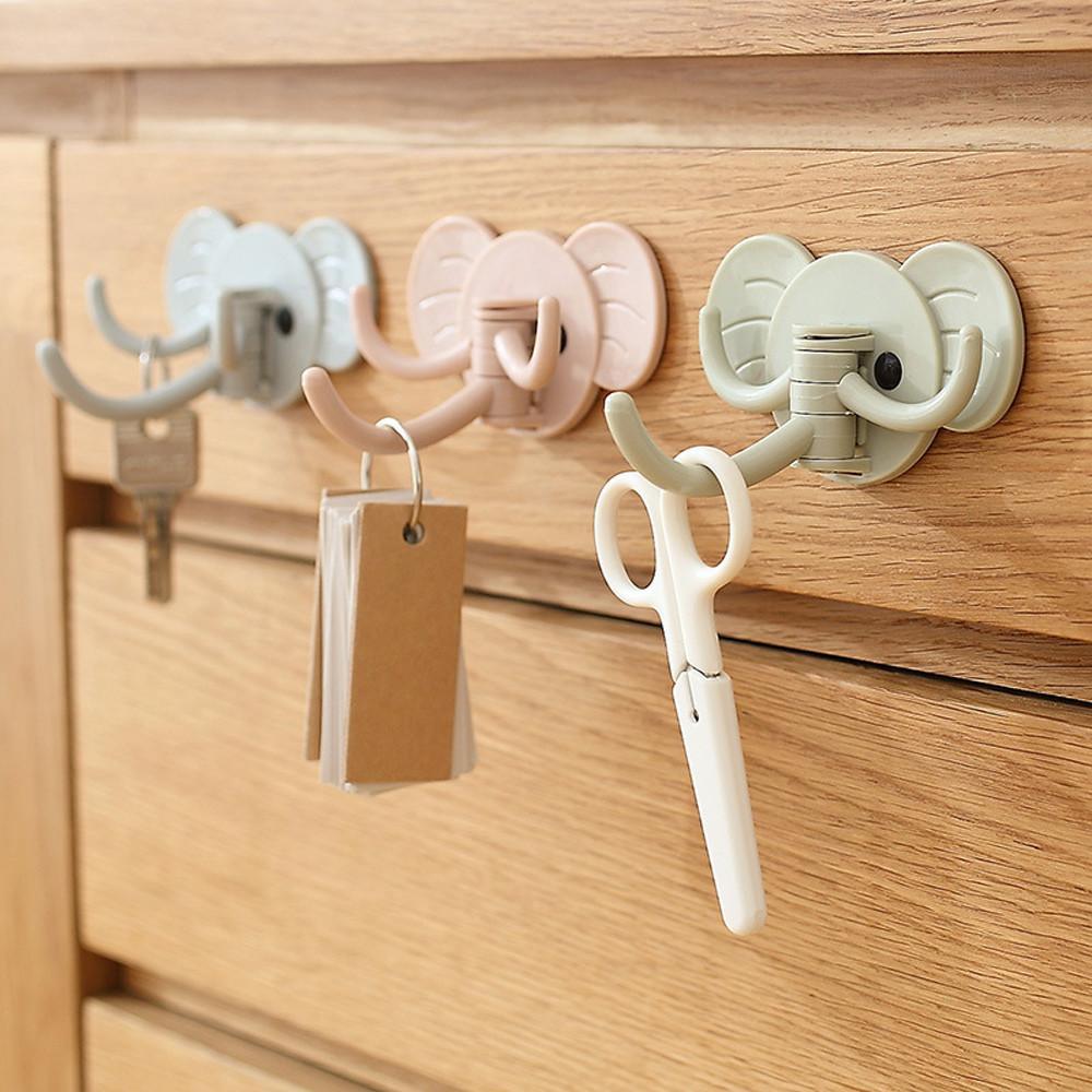1 unid 3 ganchos Elephant Stick en la pared Ganchos adhesivos Self Bathroom Kitchen HangerHooks Strong Hanging Hook Key Holder Alta calidad