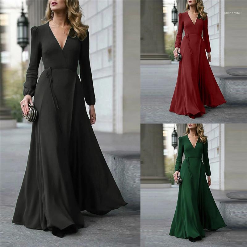 Зашнуровал Платья Женская одежда Новые прибытия Женщины Макси платья Мода Solid Color V шеи длинным рукавом