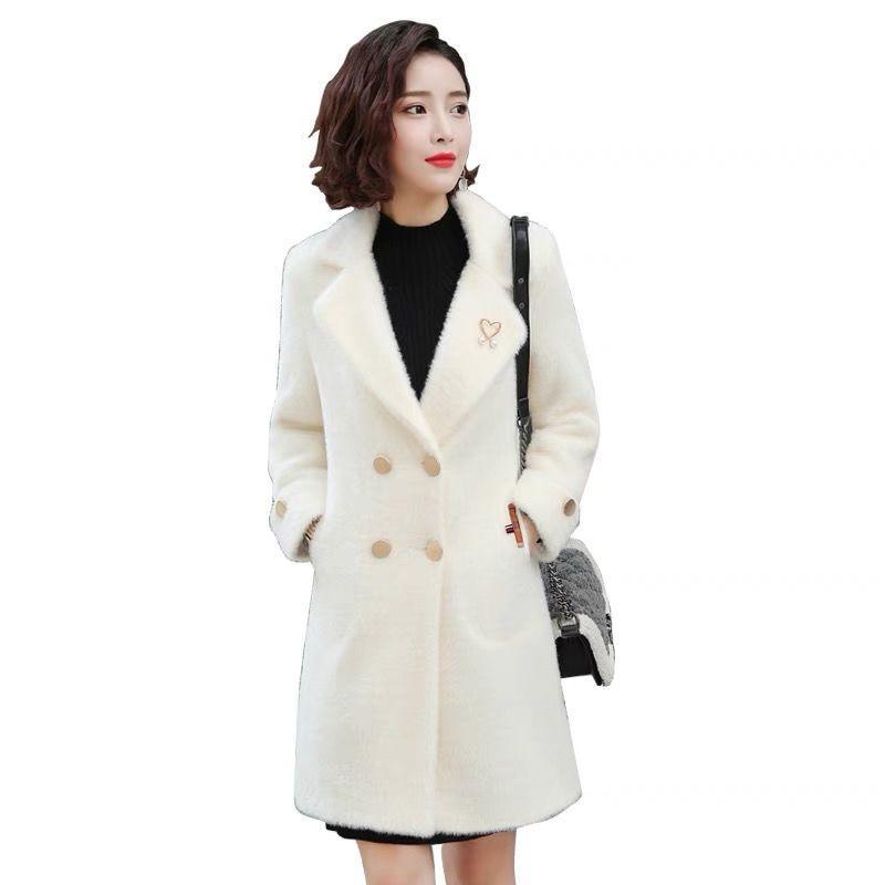 Mulheres elegante Mid-Long casaco de lã 2019 Inverno Office Lady jaquetão Coats Feminino lã Casacos