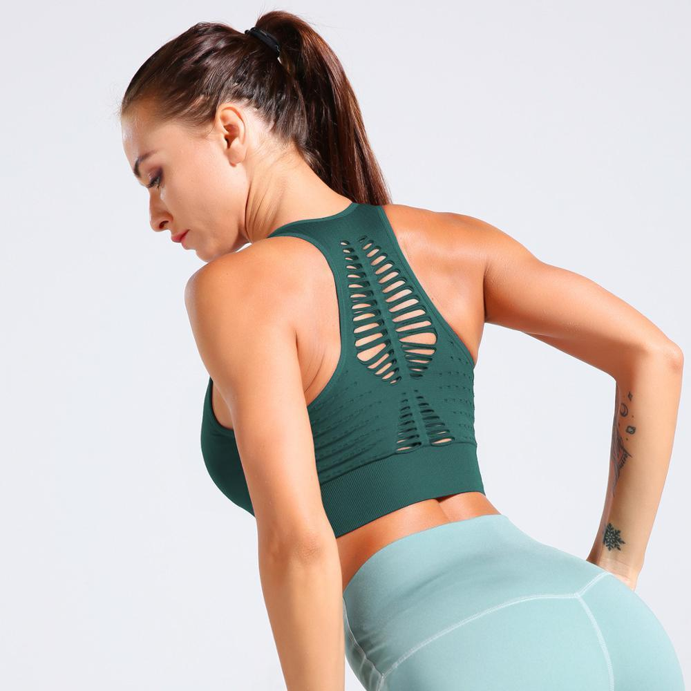 Inconsútil de las mujeres sujetador de los deportes Correr Yoga sujetador a prueba de golpes Top Gym Fitness Entrenamiento del sujetador del deporte de alto impacto acolchado interior del chaleco