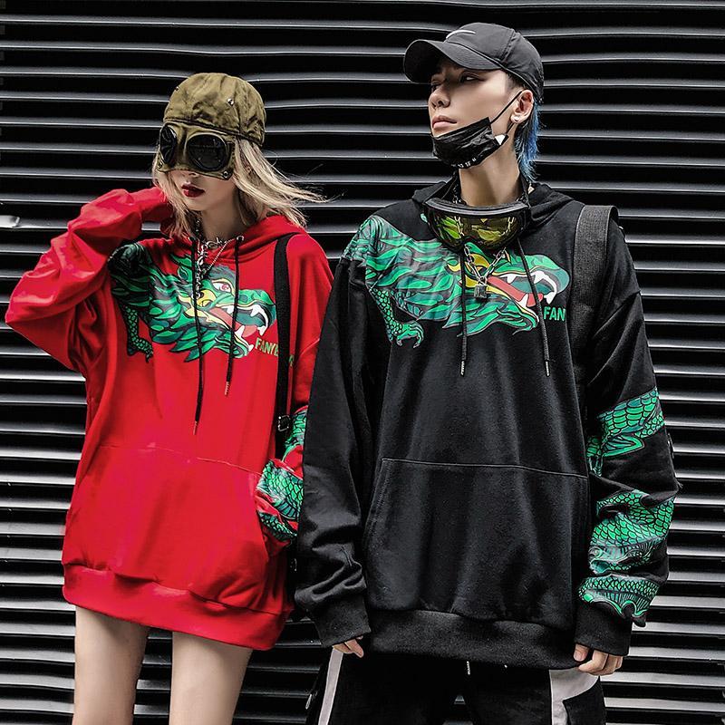 Calle dragón de la manera impresión sudaderas con capucha de Hip Hop Terry sudaderas Hiphop Style Swag de Tyga Otoño Invierno ropa de gran tamaño