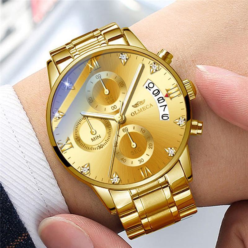 الدردارية أزياء الرجال ساعة اليد الفولاذ المقاوم للصدأ الكوارتز الرجال ووتش كرونوغراف التقويم مضيئ الساعات الذهبية للماء