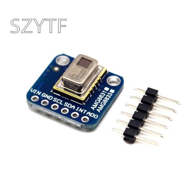 Pas cher Circuits intégrés AMG8833 IR 8 * 8 Tableau Imageur thermique Capteur de température Module 8x8 capteur caméra infrarouge