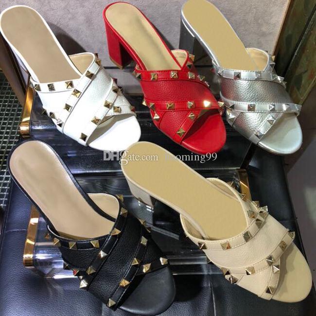 2019 обувь Imported кожаные товары ткань заклепки элементы украшения сексуальные гламурные женские каблуки копыта случайные горки тапочки платье сандалии