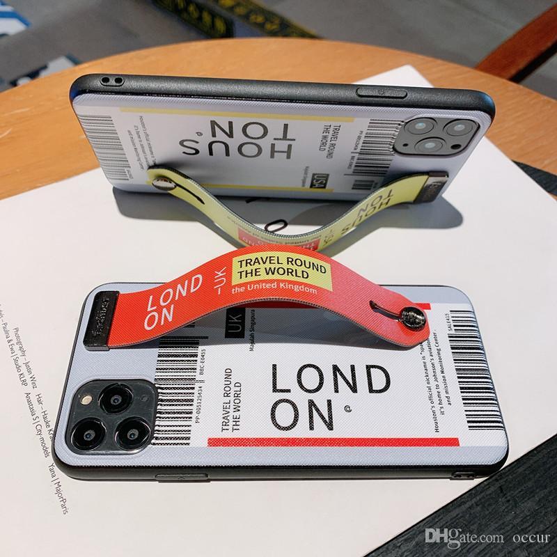 Telefone Luxo Capa para iphone 11 pro caso X Xs XR max 6 7 8 mais Caso designer de Couro Kickstand