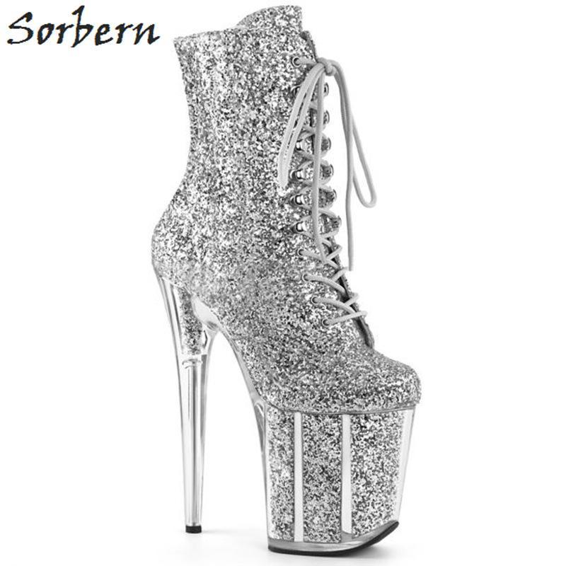 Sexy Glitter Extreme Botines de tacón alto Mujeres Talones Exóticos Polo Botas de baile Mujeres con cremallera lateral Zapato de señora Multi colores