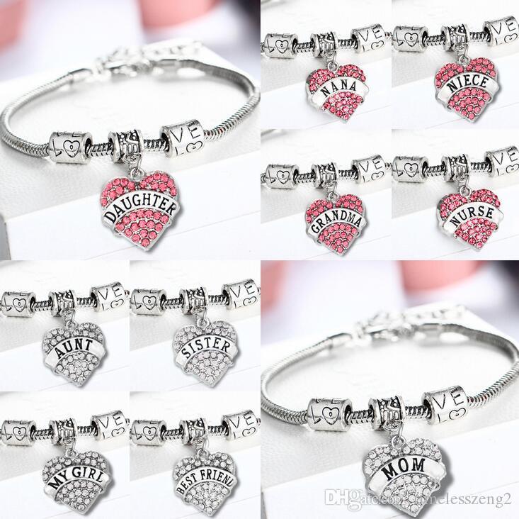 45 types Diamond Love Heart Bracelet family member best friends Crystal Bracelet Women Charms wristband Jewelry