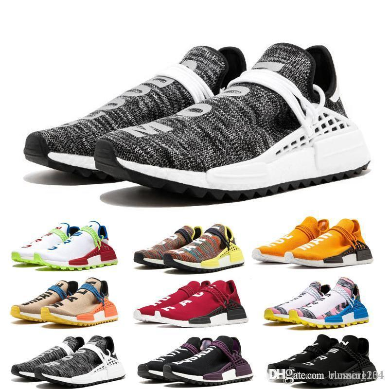 2019 designer Human Race Hu trail pharrell williams running shoes Nerd black cream Holi trainers mens women sports runner sneaker size 36-46