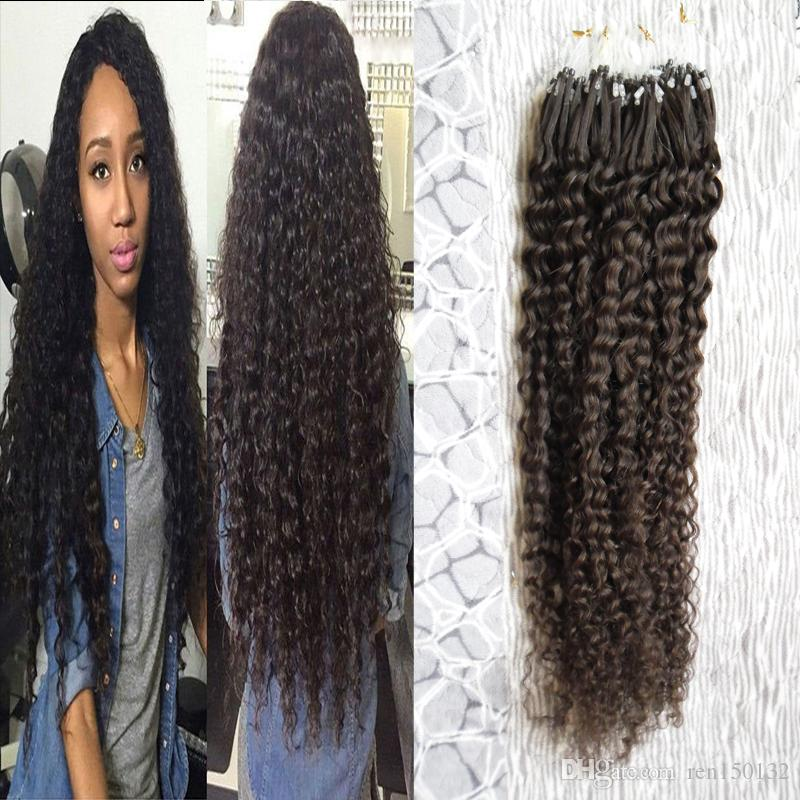 Micro Loop Ring Haarverlängerung verworrene lockige Remy Coloured Hair Locks 18-24 '' afro verworrene lockige Micro Bead Haarverlängerungen 1g / Strang 100g