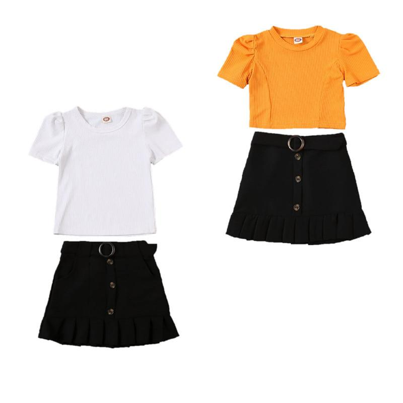 Floral Skirts Infant Outfits 2Pcs Toddler Newborn Baby Girls Clothes Set Long Sleeve Fall Skirt Sets Solid Romper