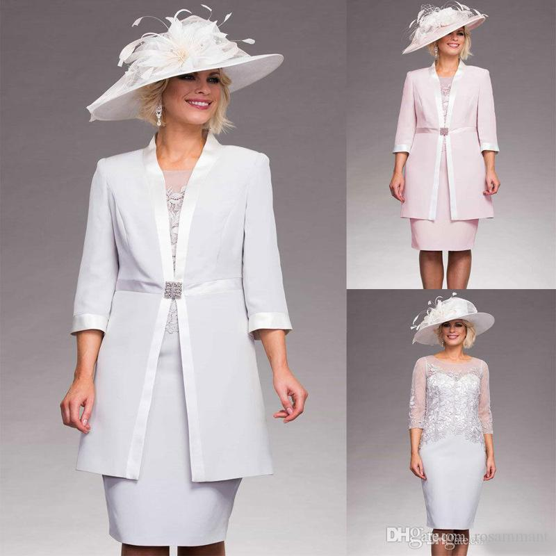 Mother of the Bride Dresses Plus Size Outfit Jacket Knee Length Formal Gown Lace Wedding Guest Dress