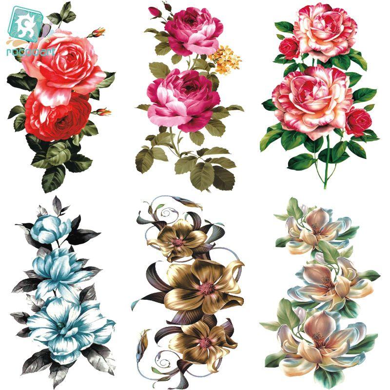 Haufen temporäre Tätowierungen Rocooart QC678-698 Frauen Make-up tatuajes Tattoo-Ärmel Body Art Granatapfel Blumen Temporary Flash-Tatoos Sticke ...