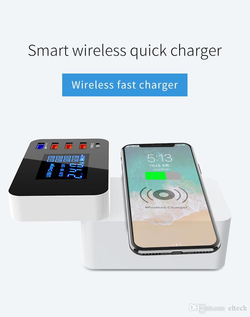 شاحن لاسلكي QI Quick Charge 3.0 ذكي USB نوع C شاحن محطة HUB شاشة LED سريع شحن محول الطاقة قطاع سطح المكتب