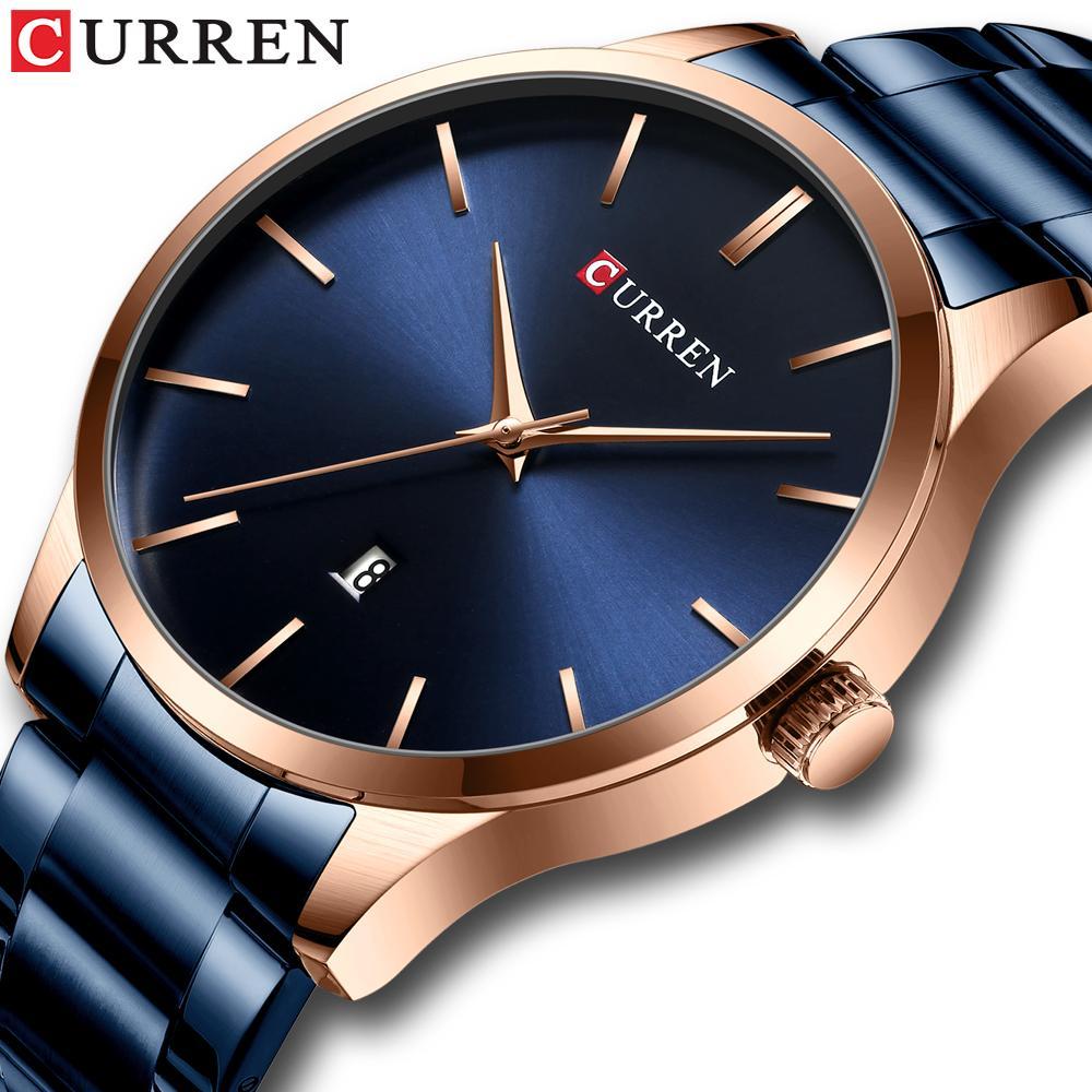 CWP orologio da uomo stile moda curren classico orologi al quarzo classico in acciaio inox band maschile orologio da uomo d'affari da uomo in orologio da polso da uomo