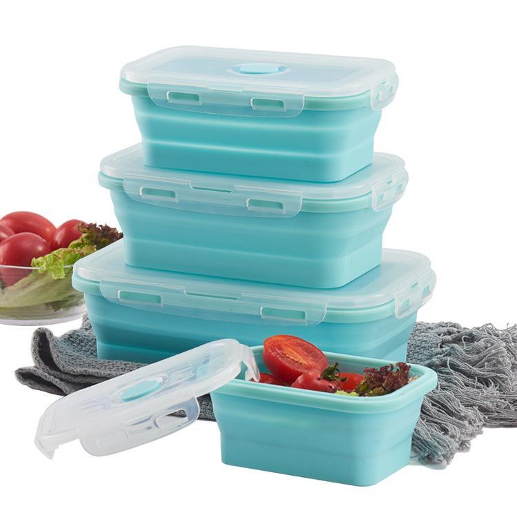 Zusammenklappbar Frischhaltung Box Lunch Box Solid Color Silikagel-Mikrowellenofen Silikagel-Kühlschrank Bento Aufbewahrungsbox