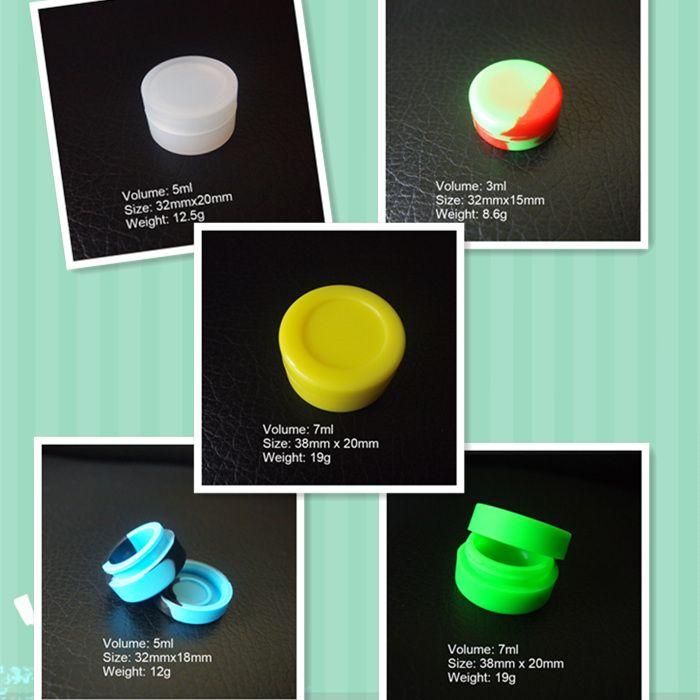 3 ml 5 ml 7 ml Antihaft-Silikondose Tupferwachsbehälter für Silikondosen Ölbehälter Konzentratbehälter 6 in 1 Durchgang FDA LFGB-Test