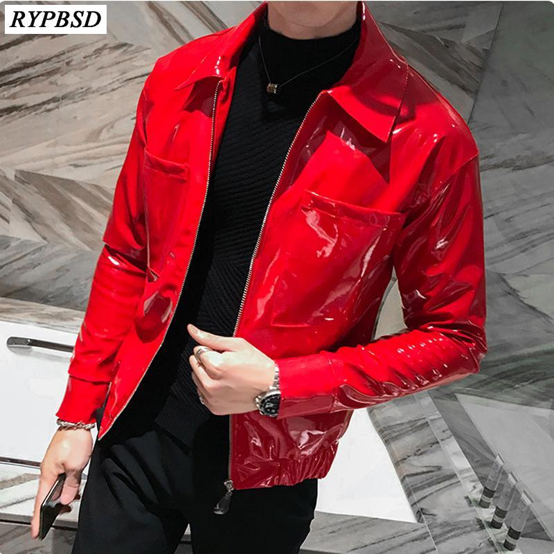 الحمراء سترة جلدية الرجال بو فو جلدية ملابس خارجية عارضة الازياء كم طويل اخفض الياقة سحاب راكب الدراجة النارية سترة الرجال السود M-3XL