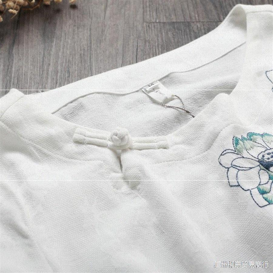 Loose embroidery simple short-sleeved T-shirt T-shirt embroidery artistic style casual base Women's large size top female
