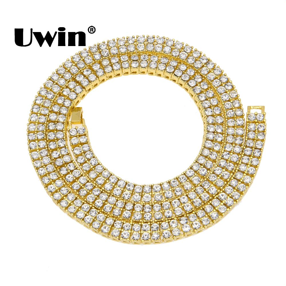 Uwin Hip Hop Crystal Rhinestones Bling Bling Cuban Necklace Men 9mm 2 Row Tennis Chains Gold Silver Black 3 Length Size Jewelry J190616