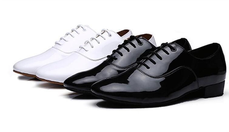 Dokunun Dans erkek Elbise Ayakkabı Kare Topuk Yuvarlak Ayak Erkek Ayakkabı Dantel-up Yetişkin Dans Ayakkabıları Kauçuk Anti-patinaj Erkekler Tabanı 1a18