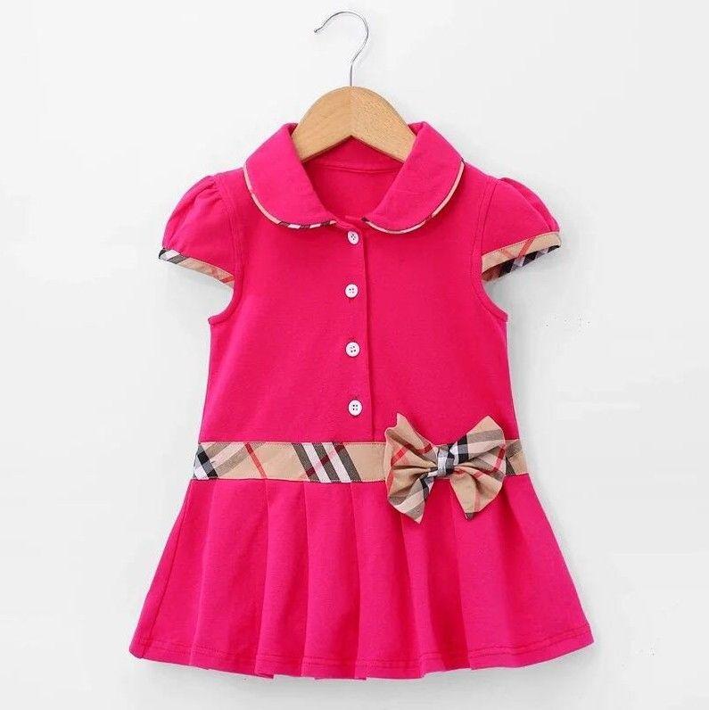 2020 New Hot Vente Bébés filles Princesse Robe d'enfants d'été à manches courtes Robes col Down Enfants Turn Robe avec bowknot 3-8Years