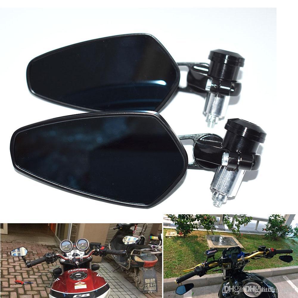 colore: nero Universale per moto 7//8  22mm alluminio vista posteriore specchietto laterale manubrio