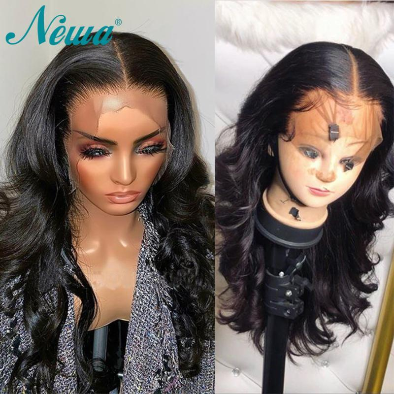 Frente peluca pelucas de pelo humano frente newa cordón del pelo del cordón de Remy Pre desplumados con el bebé brasileña frontal pelucas para las mujeres