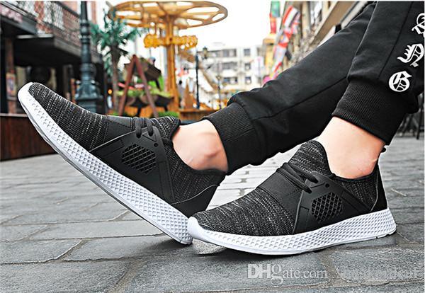 Günstige 2020 Turnschuh-Mann-Jogging Laufschuhe Licht Outdoor-Sport Schuh-Schwarz-Weiß zapatillas hombre deportiva mit Box