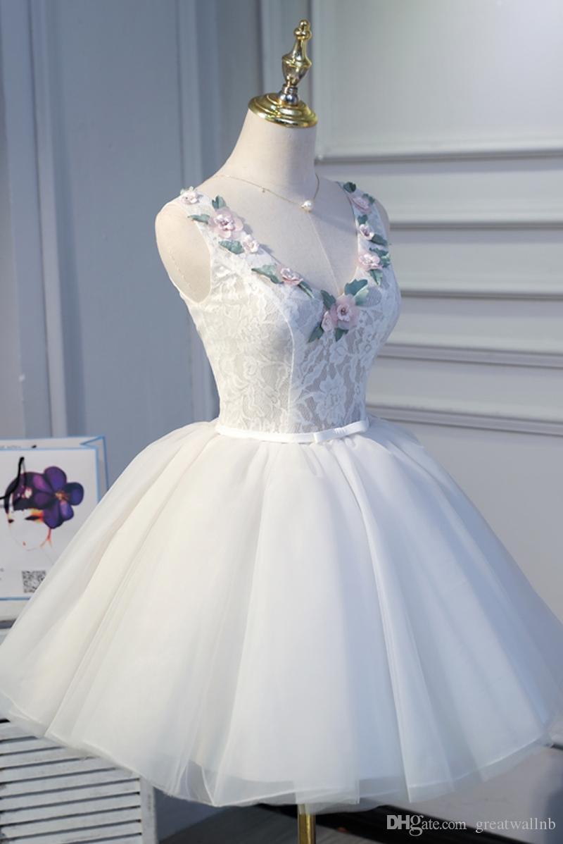100% echte weiße Spitze Blume Alice / Fee Kleid kurz Ballkleid / kurz Lolita Kleid Lolita Kleid Bühne Tanz Leistung