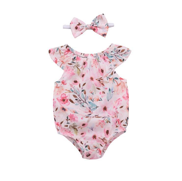 Headband Outfits A5 Newborn Baby Girls Clothes Flower Jumpsuit Romper Bodysuit