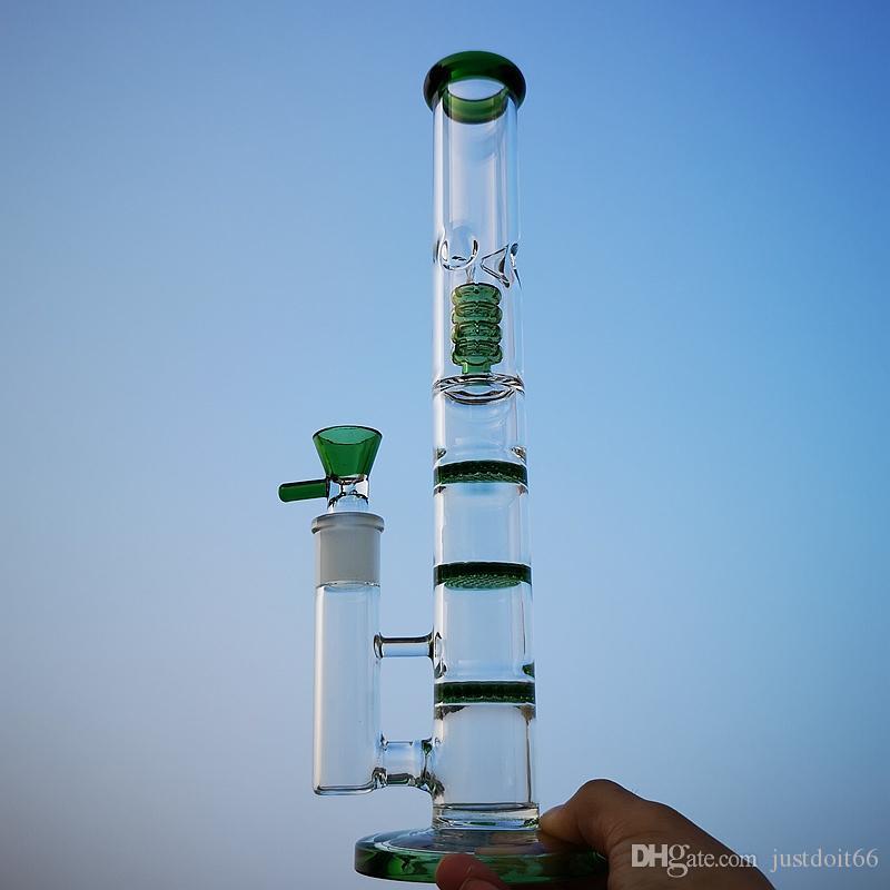 Triple Percolateur Bong en verre d'eau Bongs peigne Perc Tube droit Pipes eau Birdcage Perc Dab Rigs 18mm Joint Oil Rig HR316