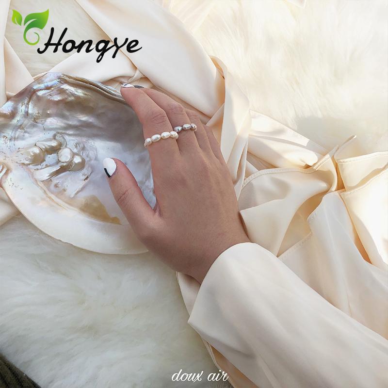 Hongye Ladies Natural Anel Pérola frisados ajustáveis Anéis redondas para Mulheres Stylish Declaração Jóias Wedding Rings Branco / Roxo