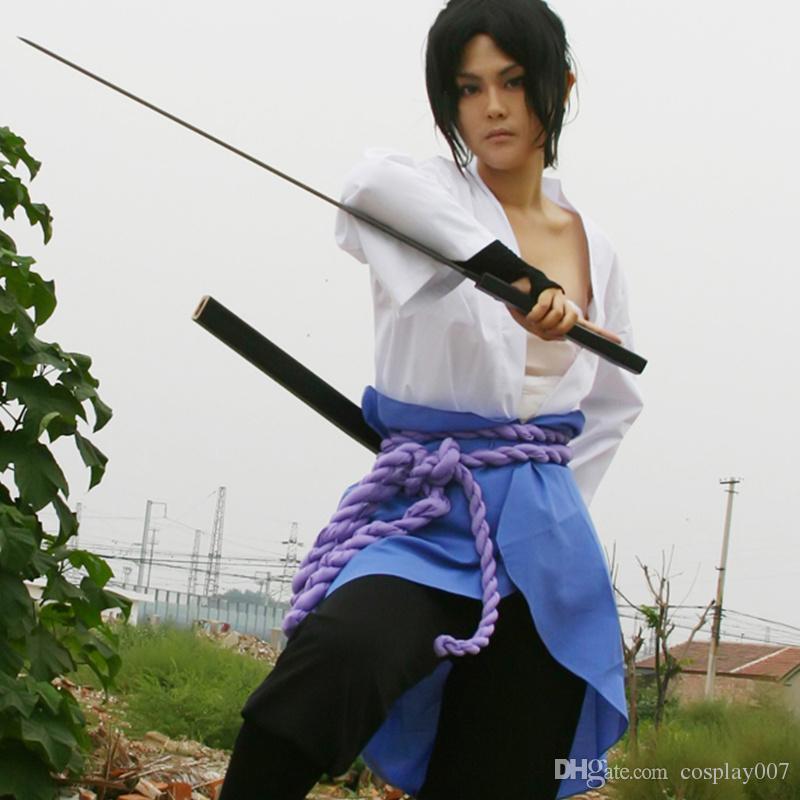 Uchiha Sasuke trajes de cosplay Tercera generación de ropa Naruto Shippuden Anime japonés Ropa Naruto Disfraces de Halloween Disfraces de máscaras
