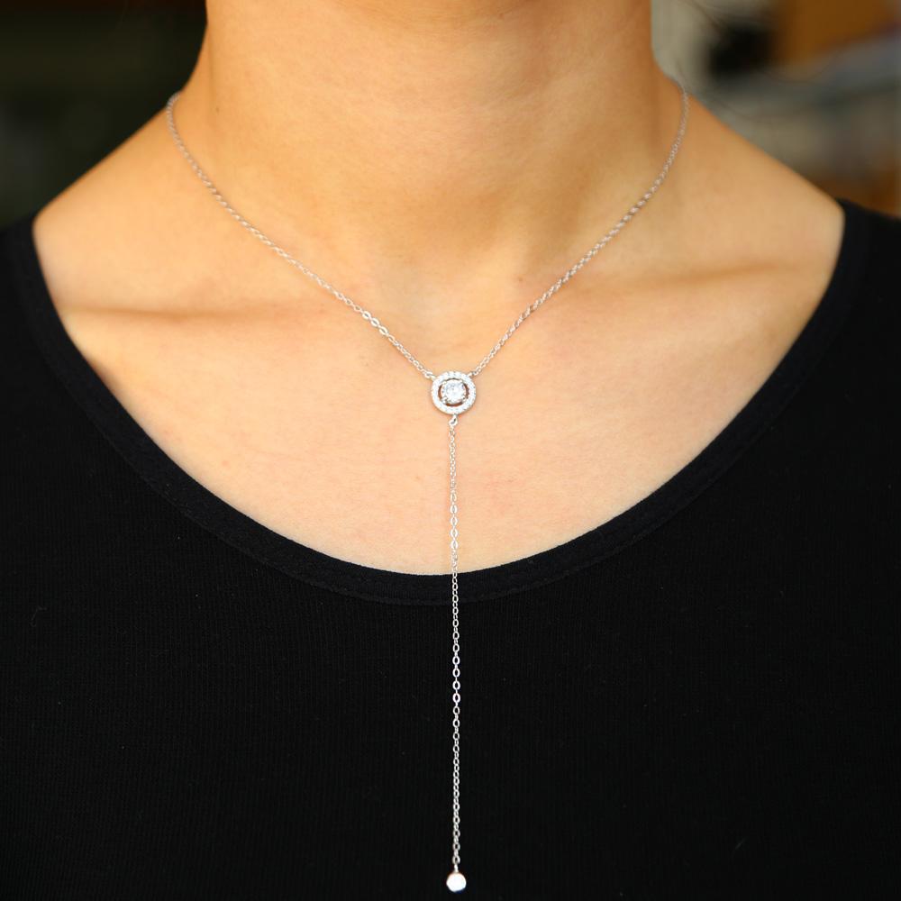 Gros-925 en argent sterling OL Mesdames bijoux cadeau de haute qualité diamant cz étincelles bling longue chaîne minimale d'argent de la mode