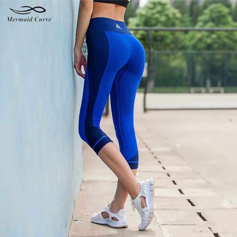 Mermaid Curve 2017 New Leggings Women High Waist Elastic Fitness Capri Pants Women Sports Stretch Patchwork Yoga Pants C19032801