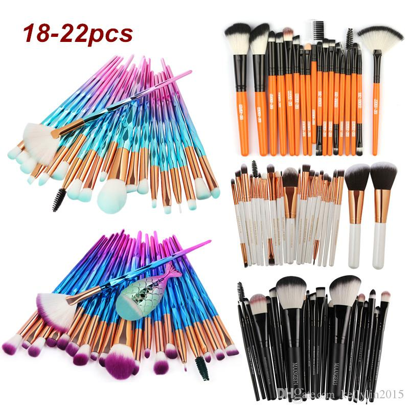 Professional Make up Brushes Set 18-22pcs Eye Makeup Foundation Powder Brush Eyeshadow Diamond little Fish Mermaid Makeup Brushes Kit Tool
