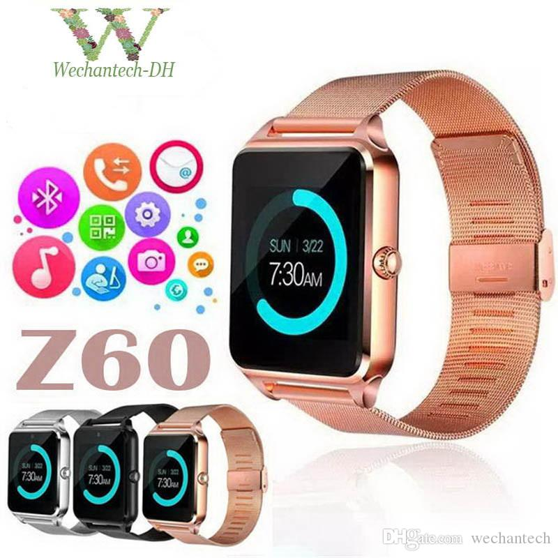 Luxe Bluetooth Montre Smart Watch Z60 SmartWatch téléphone NFC Support SIM Carte TF Dispositifs Portable Bande Intelligente Pour iOS Android Smart montres