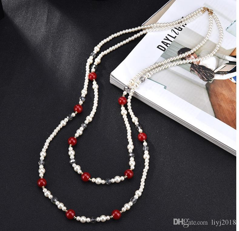 catena del maglione lungo tratto cristallo nappa multistrato nuovo modo collana di perle di montaggio del pannello esterno selvaggio
