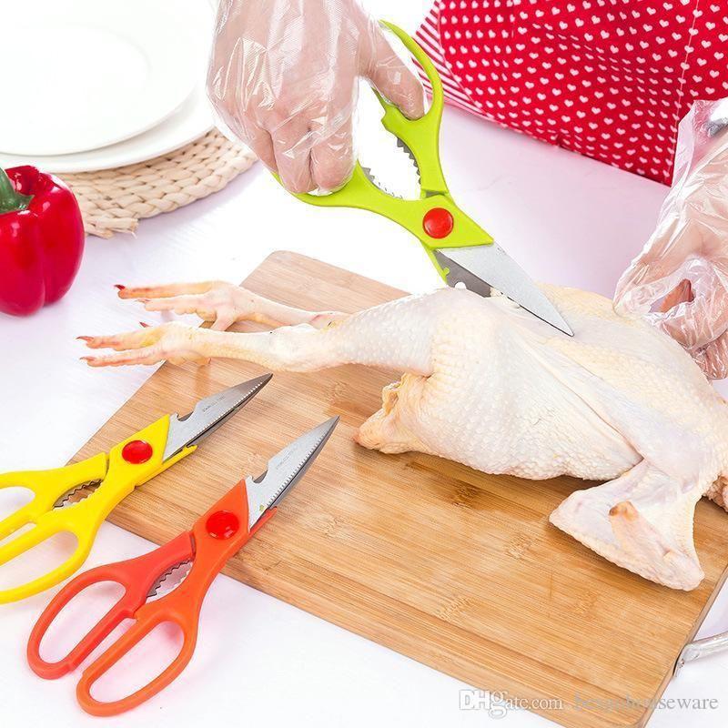 물고기 스케일러 가위 주방 스테인레스 스틸 가위 미끄럼 방지 손잡이 너트 펜치 병 뚜껑 오프너 야채 가위 BH1469 TQQ 오리 닭